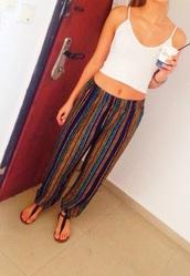pants,hippe,vertical stripes,stripes,harem,hippie,parachute pants,boho,lines,striped pants