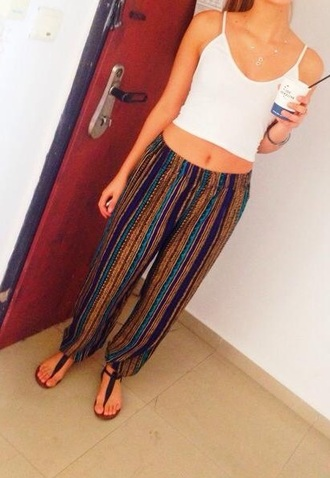 pants hippe vertical stripes stripes harem hippie parachute pants boho lines striped pants