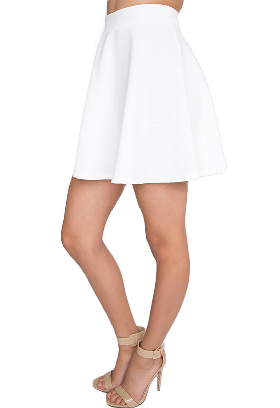 demi high waisted skirt white