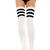 THIGH HIGH ATHLETIC SOCKS WITH 3 STRIPE TOP (WHITE) - Dress Derby
