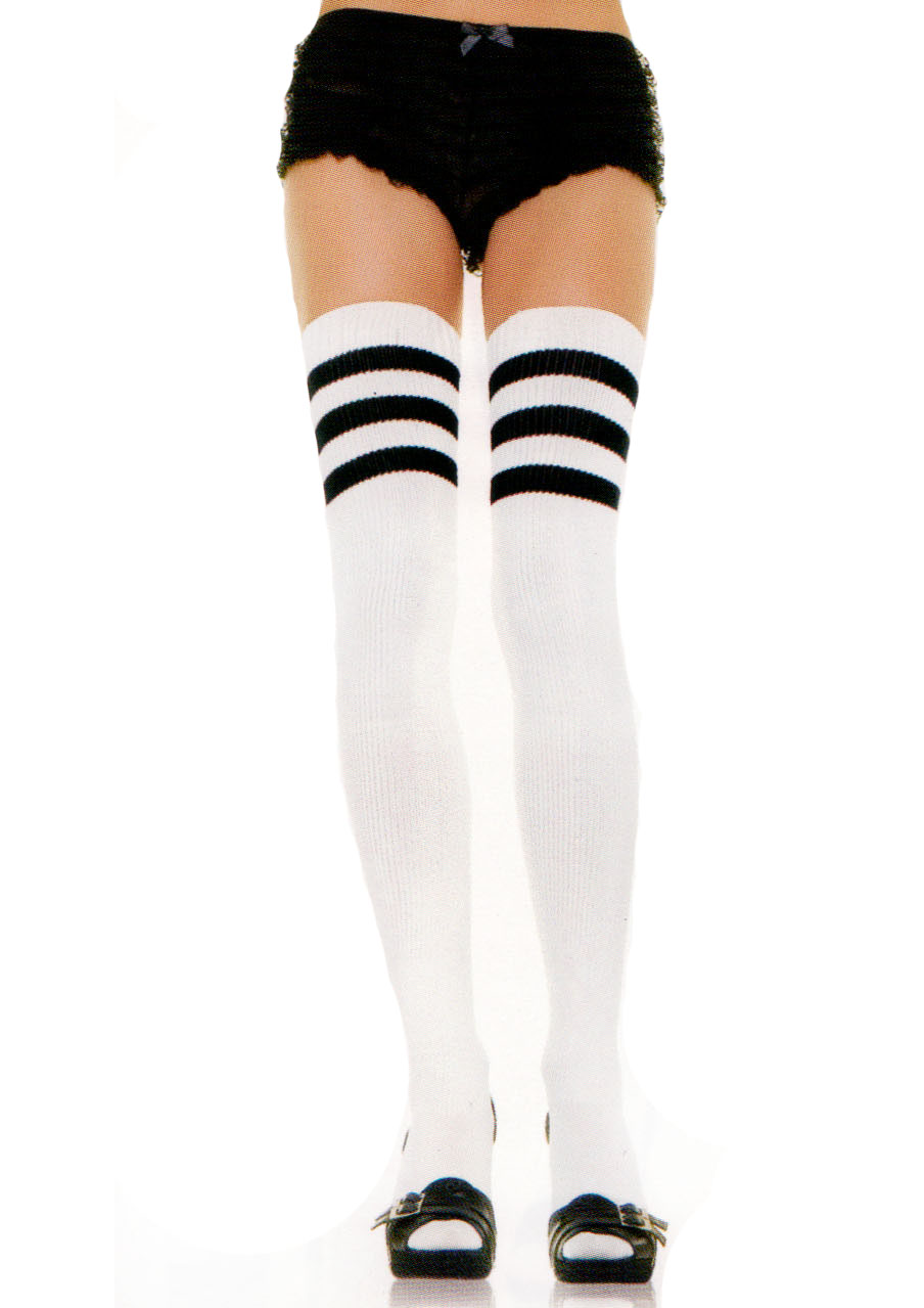 Thigh high athletic socks with 3 stripe top (white)