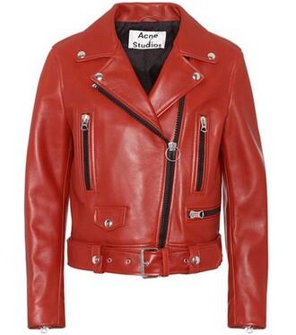 jacket biker jacket leather red