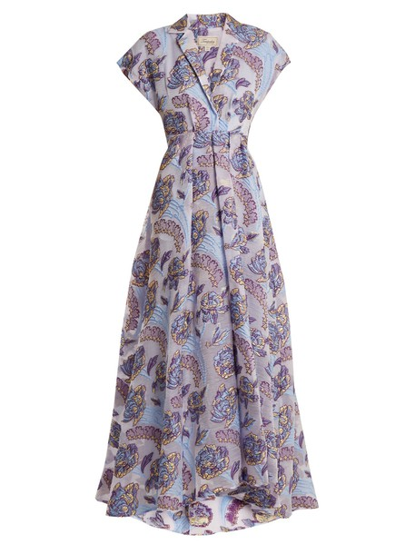 Temperley London gown jacquard floral purple dress