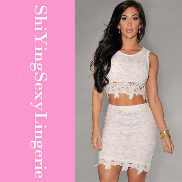 Hot Fashion 2014 Clubwear Crop Top Fully Lined White Graceful Sexy Two piece Floral Lace Overlay Skirt Set LC21141 Free Shipping-in Blazer & Suits from Apparel & Accessories on Aliexpress.com