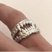 jewels,ring,silver,menswear,jewelry,fangs,teeth,halloween