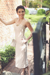 dress,midi length,midi dress,sheath,sheath dress,cocktail,bridal,bidesmaid,bride,wedding,wed,nude,tan,neutral,garden,entourage,boutique,fancy,sheath dresses,cocktail dress,strapless
