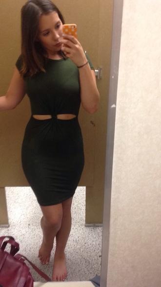 dress olive green bodycon dress mini