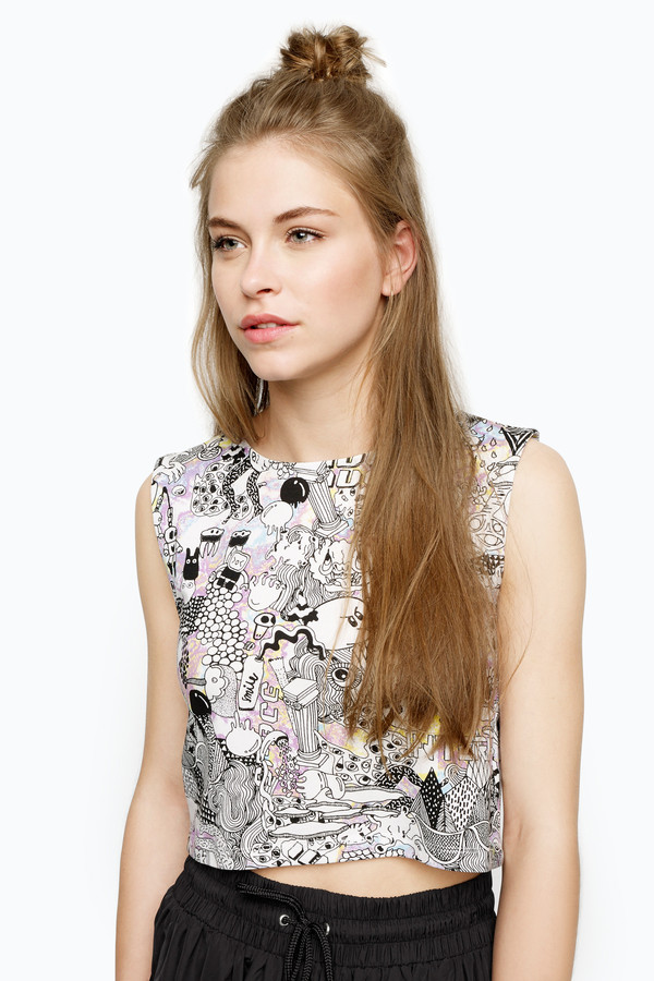 top printed cotton crop top monki