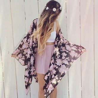 sweater kimono floral kimono flower kimono top white top crop tops white crop tops bustier white bustier white bustier top flower crown flowers skirt pink skirt mini skirt a skirt