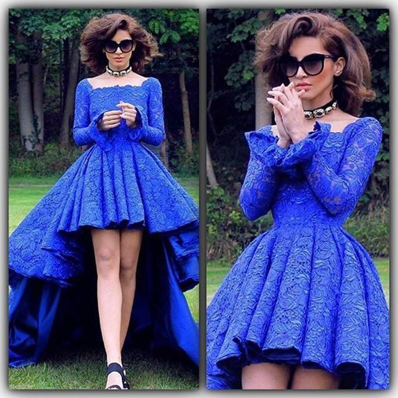 Blue Vintage Lace High Low Prom Dresses Long Sleeves 2016 A Line ...