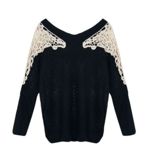Black Crochet Sweater with Contrast Lace Shoulder