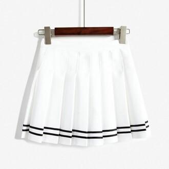 skirt white fashion style girly summer kawaii skater skirt school girl cool boogzel cute trendy