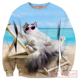 sweater casual cat sweater cats pastel goth hipster sweatshirt fashion clothes tumblr outfit kawaii istagram hoodie printed sweater