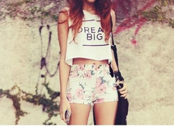 shirt floral shorts cut off shorts cute quote on it crop tops