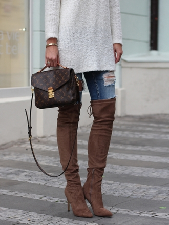 shoes tumblr brown boots high heels boots over the knee boots denim jeans blue jeans ripped jeans sweater white sweater bag louis vuitton louis vuitton bag