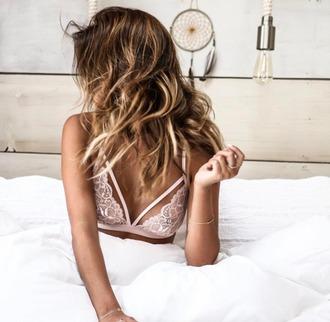 top bralette bra lace bralette pink bra white bralette strappy strappy bra lingerie summer white lingerie lace