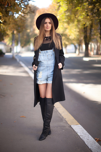 fashion agony blogger coat top hat jewels denim overalls knee high boots winter outfits shoes short overalls