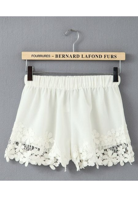 Women's lace hollow out hem pure color shorts online