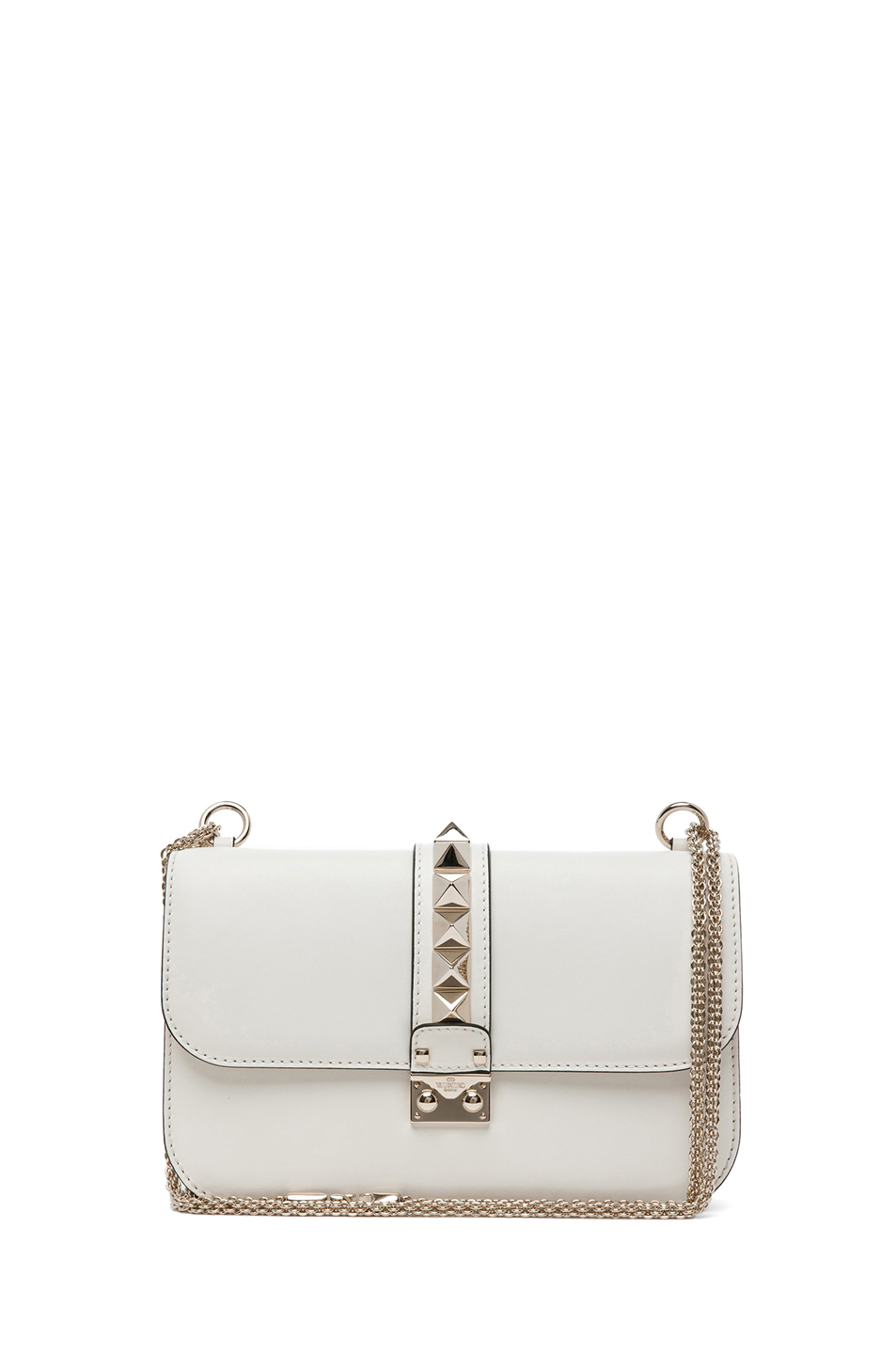 Valentino|Small Lock Flap Bag in Light Ivory