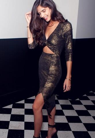 dress birthday dress metallic slit dress bodycon dress sexy dress party dress cut-out dress keyhole dress front slit