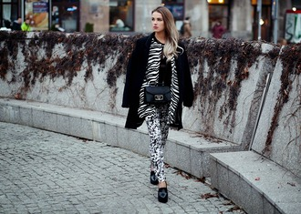 madame julietta blogger bag scarf zebra print black and white winter outfits printed pants