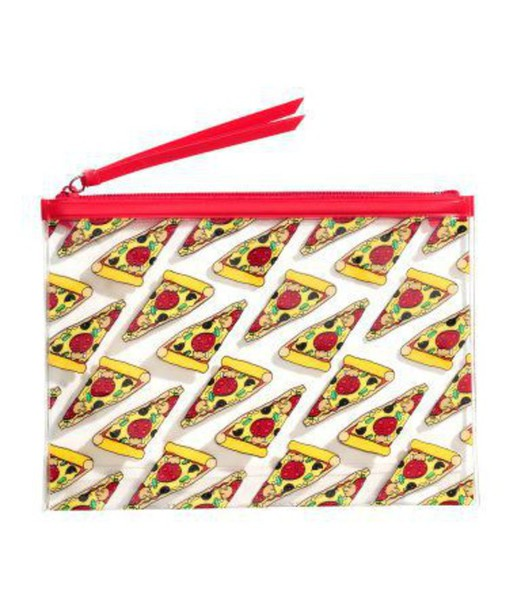 bag purse wallet alternative grunge hipster tumblr tumblr outfit pizza red transparent pizza slices zip makeup bag