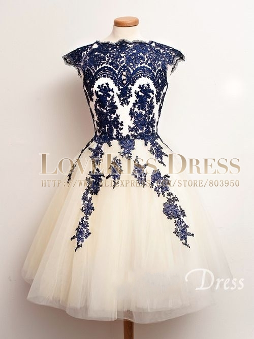 Blue Short Lace Wedding Dresses