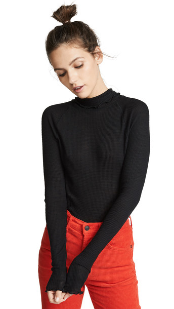 Free People Make It Easy Thermal Sweater in black