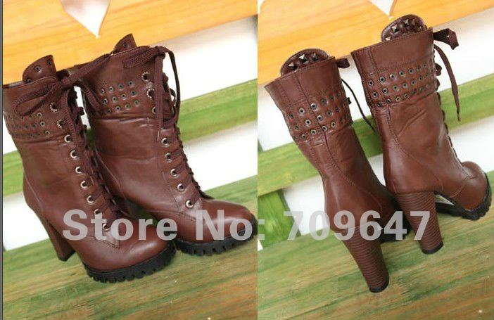 Brown Lace Up High Heel Boots