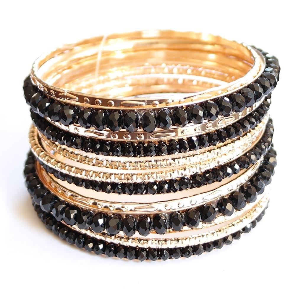 Black stone gold multi layered bangle bracelets – pinkracks