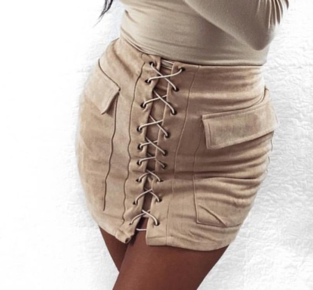 013629bf8 skirt, nude, suede, lace up, mini skirt, bodycon - Wheretoget