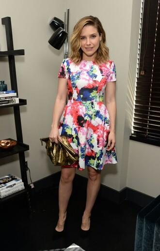 dress colorful pumps sophia bush spring outfits