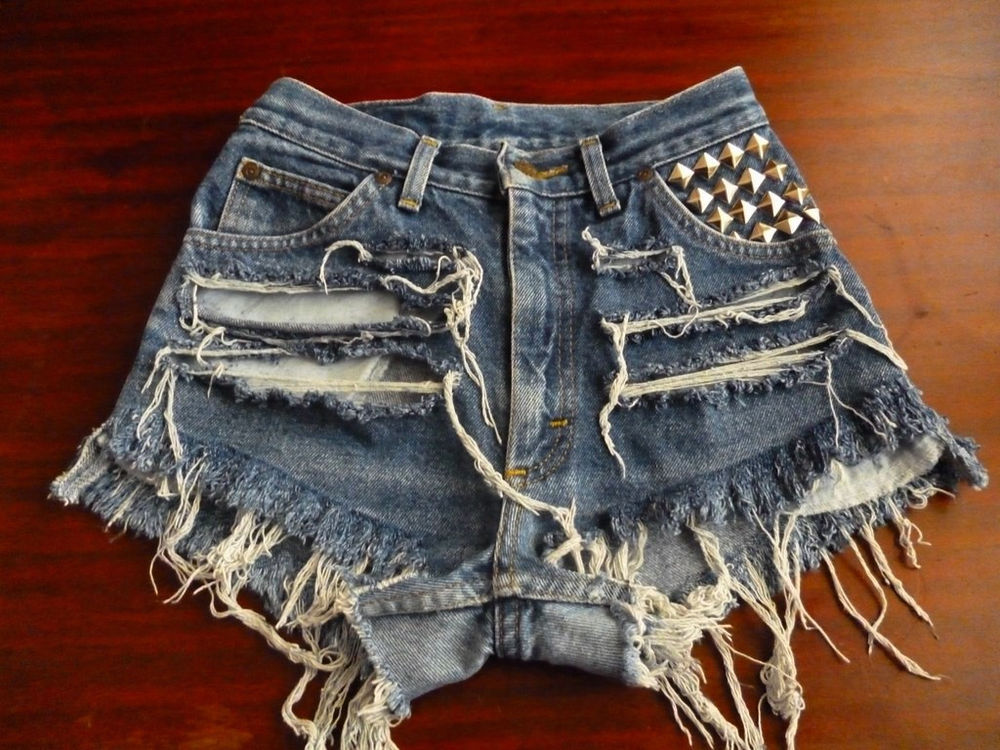 Vtg Lee Jeans High Waisted Blue Shorts Jeans Studded Distressed Size 2 3 | eBay