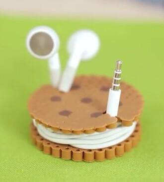 earphones cookie cute enrouleur home accessory earbuds music cookies biscuit food