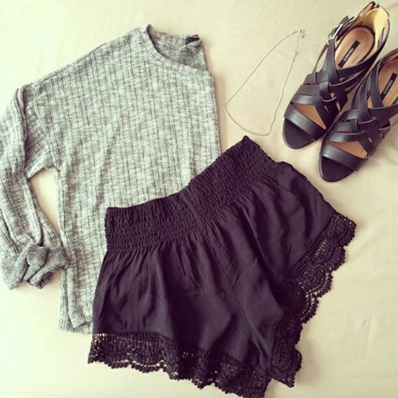lace shorts lace trimmed shorts