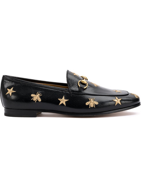gucci embroidered women bee loafers leather black shoes