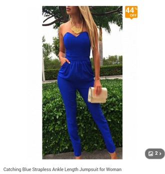 jumpsuit blue jumpsuit cotton sexy jumpsuits party outfits strapless top style sexy jumpsuit blue shirt blue skinny jeans