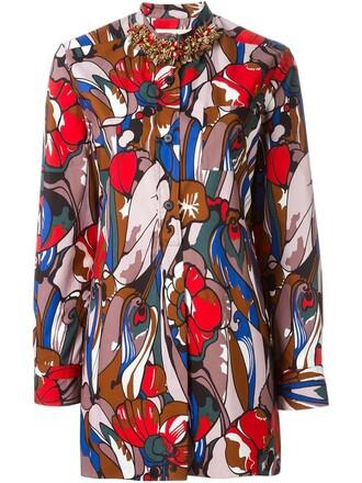 shirt embellished print red top