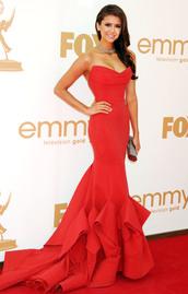 dress,nina dobrev,red dress,long dress,red carpet,the vampire diaries