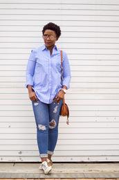 pinksole,blogger,sunglasses,jewels,shirt,jeans,shoes,bag,striped shirt,shoulder bag,sneakers