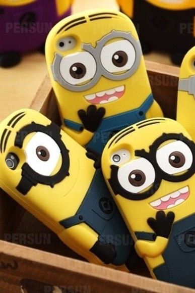 cartoon fashion jewels yellow iphone phonecase minion digital clothes iphone cover iphone case accessories jewelry