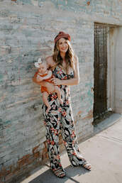 a little dash of darling,blogger,jumpsuit,shoes,make-up,printed jumpsuit,mother and child,sandals,spring outfits