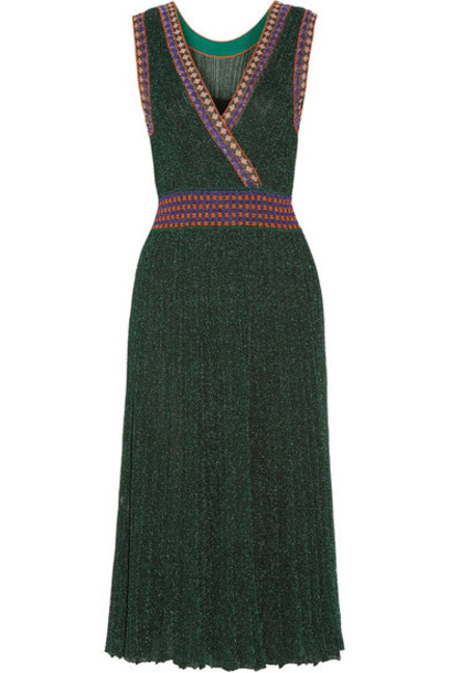 428e77f044043 Missoni Missoni - Convertible Wrap-effect Pleated Metallic Crochet-knit Midi  Dress - Emerald