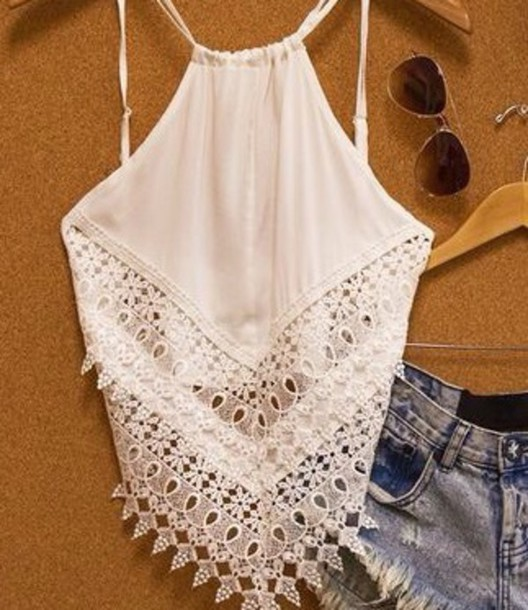 shirt tank top white shirt beach shirt crochet