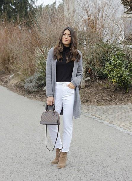 sweater jeans shoes seekingsunshine blogger louis vuitton bag grey cardigan ankle boots white pants winter outfits