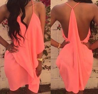 dress coral dress cute dress