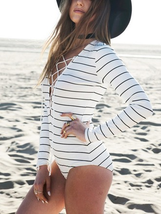 top long sleeves stripes fashion style lace up mns