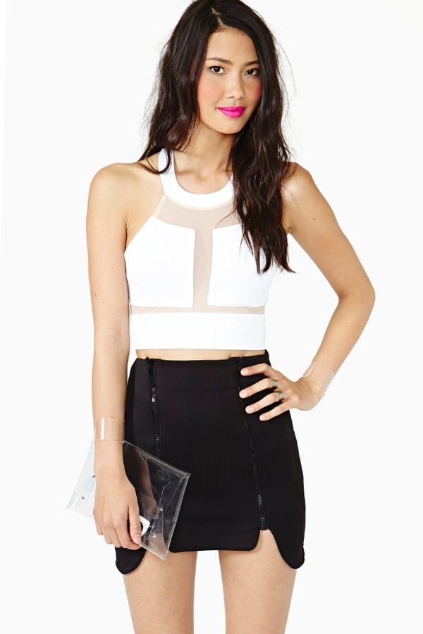 skirt crop tops leather mini skirt