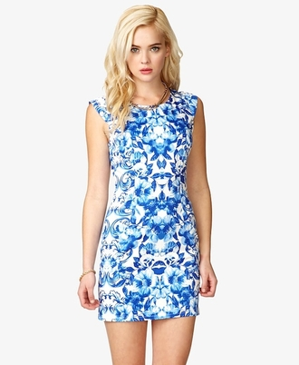 dress bright blue pattern