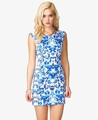 dress bright blue pattern